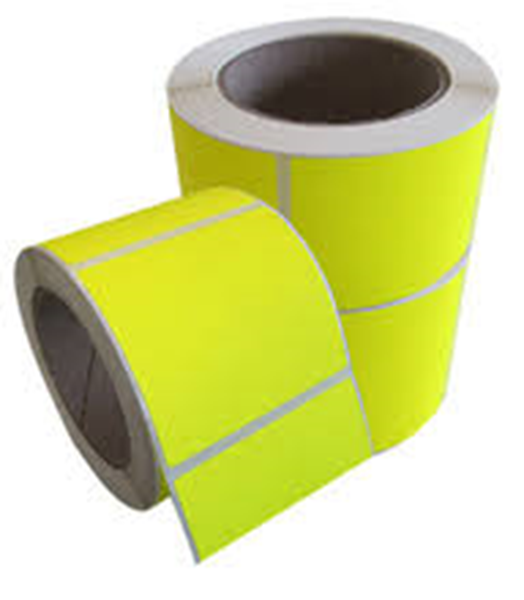 Picture of Fluro Yellow 101mm x 73mm 76mm core 1 across Label, 2,000per roll